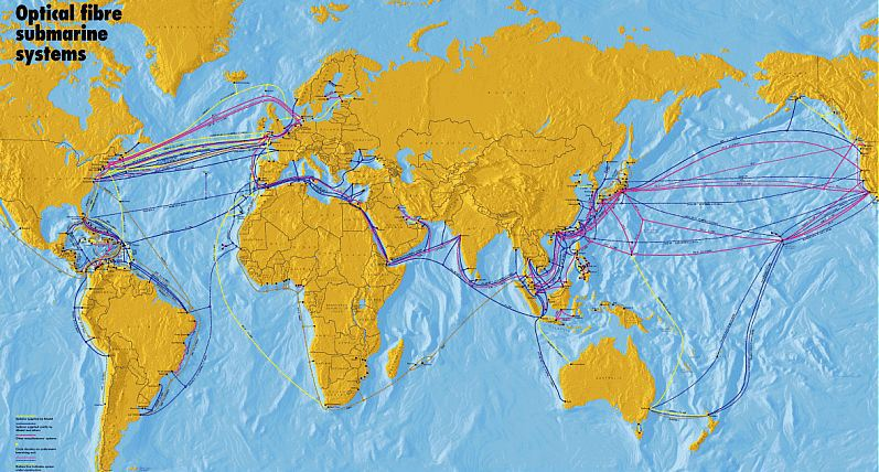 Interactive Map Of Undersea Fiberoptic Cables IScom - Fiber cable map compared to the us interstate highway map