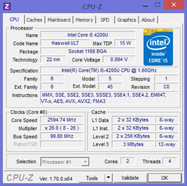 CPU tab of CPU-Z