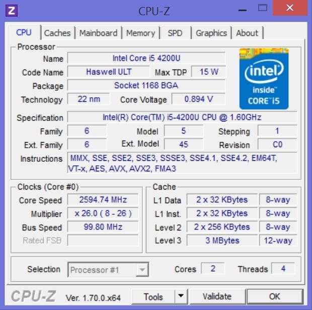 CPU tab of CPU-Z