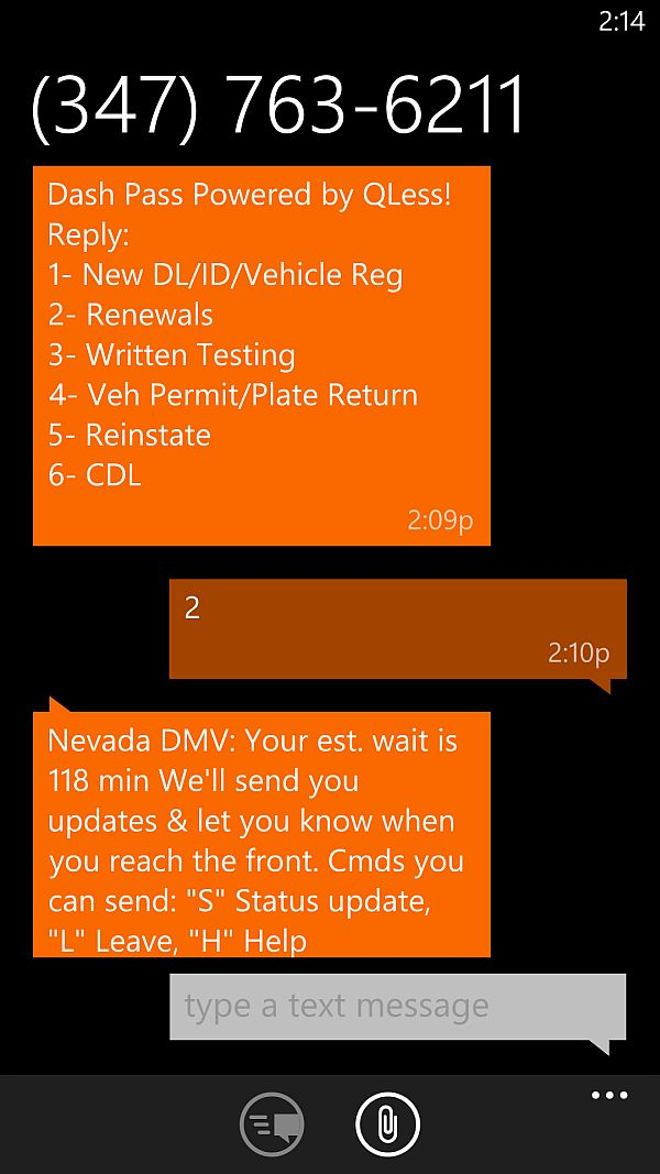 Texts from the Henderson DMV, letting me wait in line without actually being there