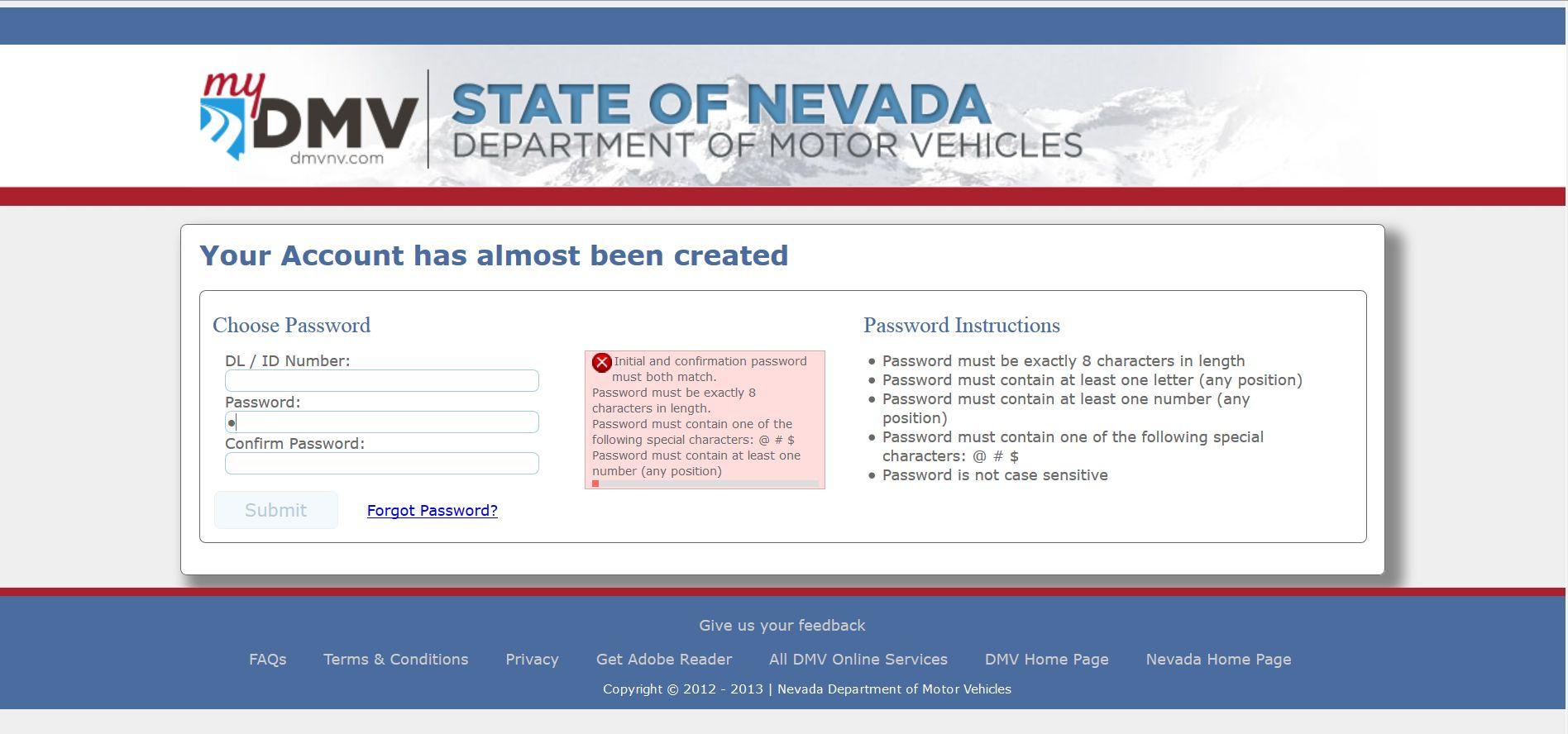 Nevada DMV password restrictions