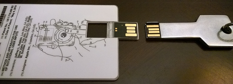 The card opened, compared to standard USB.
