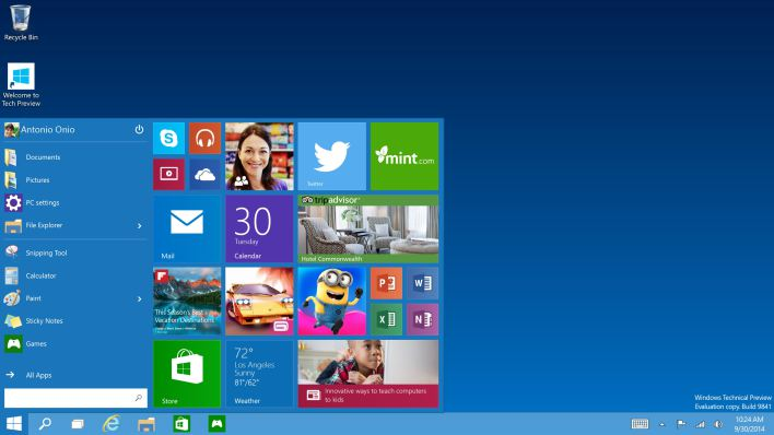 New tile-based Windows 10 start menu (Source: GigaOm)