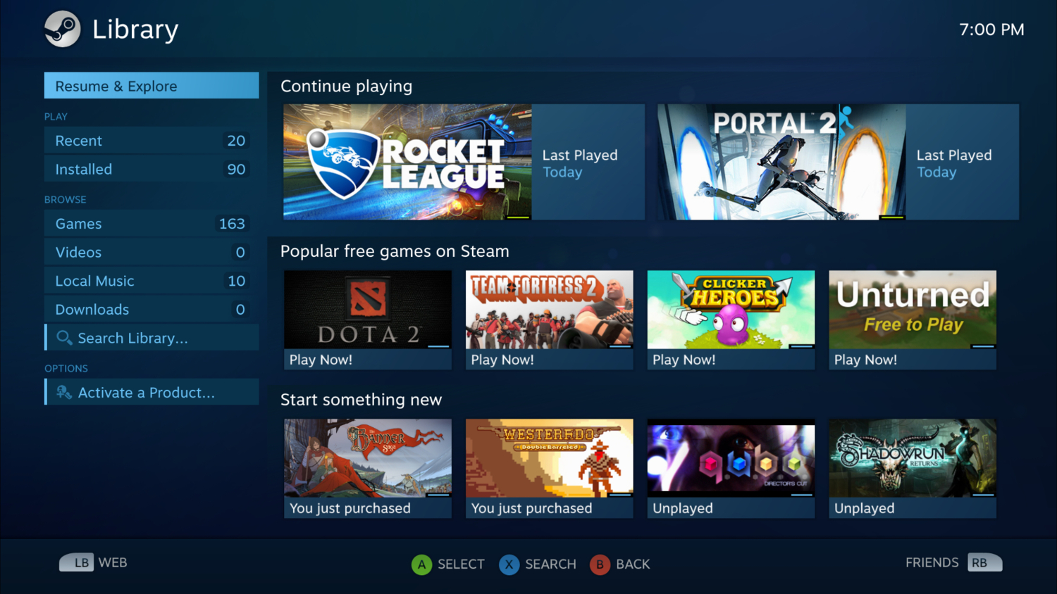 Steam's library interface