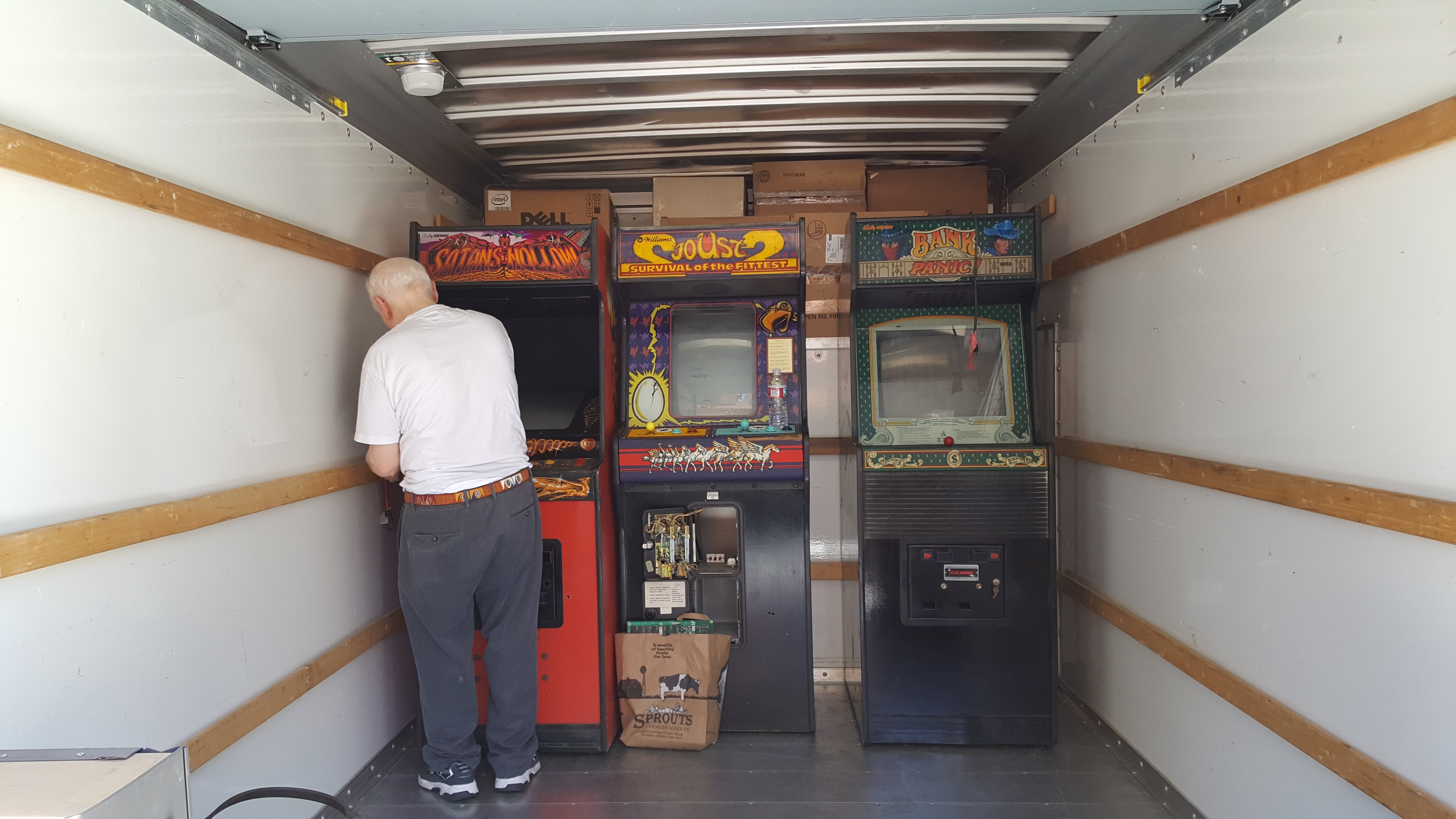Some boxes, my dad, and the arcade machines