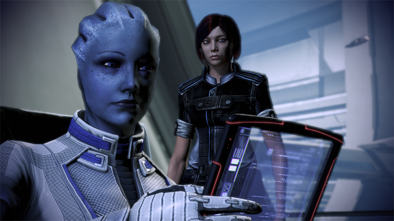 Liara using transparent tablet