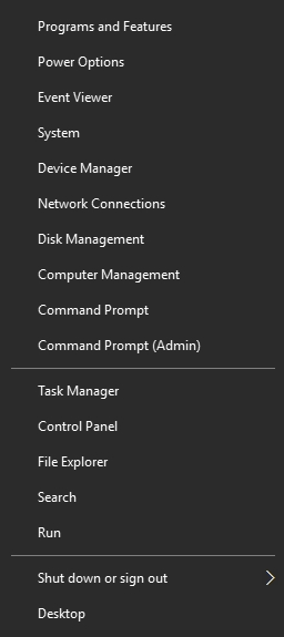 Win 10 context menu