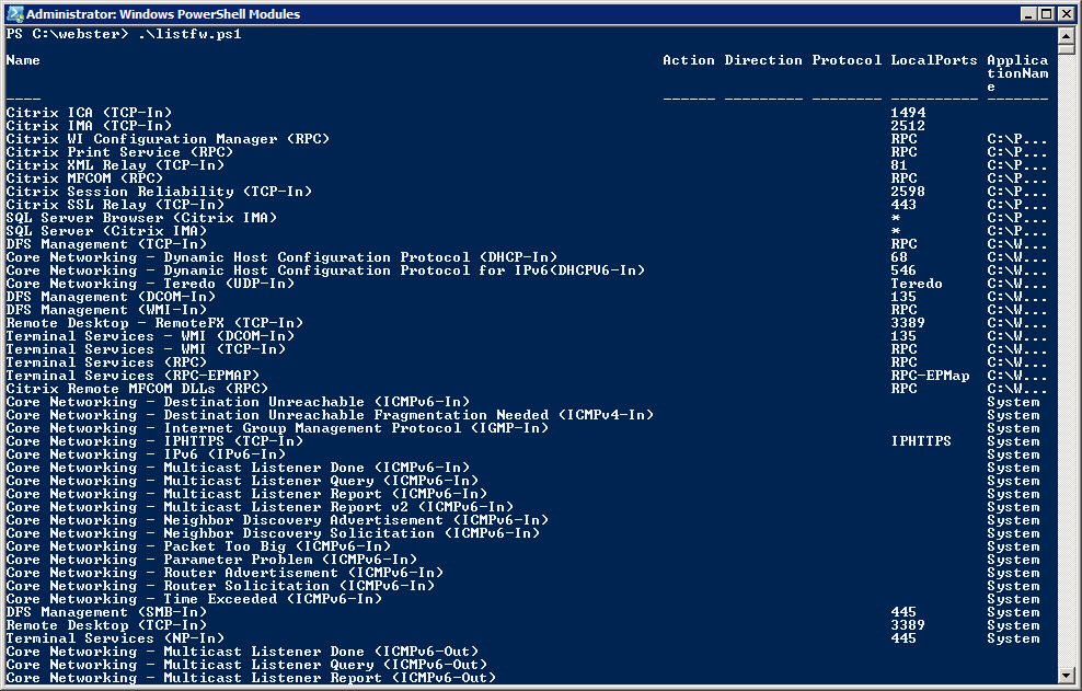 PowerShell showing firewall rules
