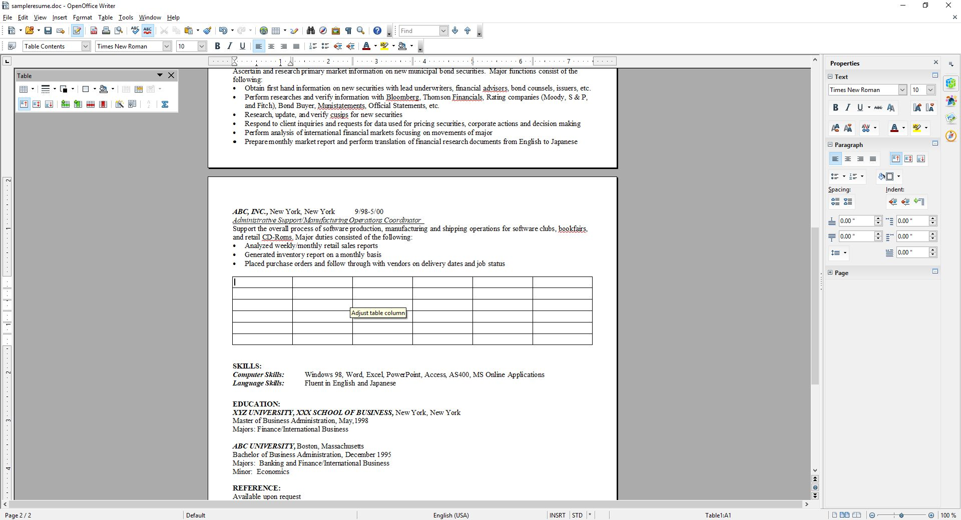 OpenOffice Insert Table