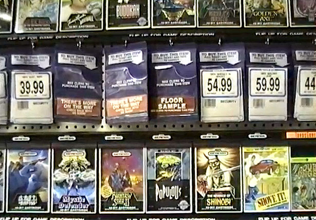 Sega Genesis games in Toys R Us, circa 1990