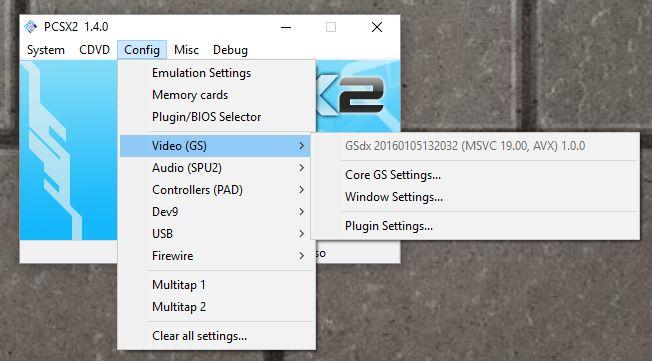 PCSX2 configuration menu